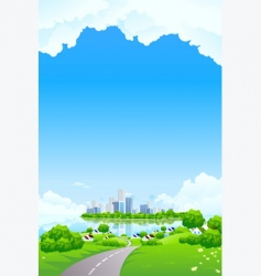 green landscape with business island vector image vector image