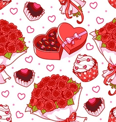 Seamless pattern for Valentines Day with a bouquet vector image