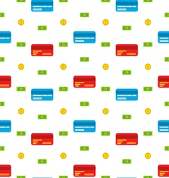 Seamless Pattern with Credit cards Bank Notes vector image