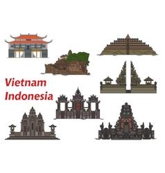 Travel landmarks of Vietnam and Indonesia vector image