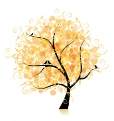 art tree beautiful golden leaf vector image