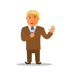 Cartoon Reporter Character with Microphone vector image