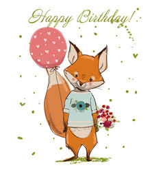 cute birthday fox vector image vector image