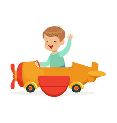 cute little boy riding on toy airplane kid have a vector image vector image