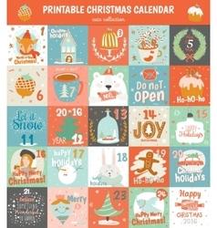 Printable advent calendar in vector image
