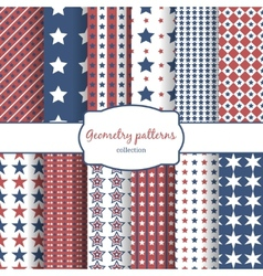 Stars and stripes pattern seamless patterns set vector image vector image