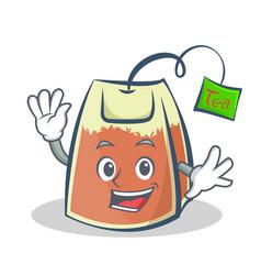waving tea bag character cartoon vector image