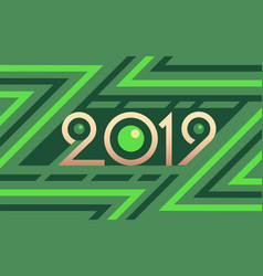 2019 geometric numbers on colorful green vector image