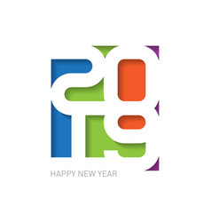 2019 happy new year - creative design template vector image