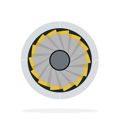 aircraft turbine flat material design isolated vector image