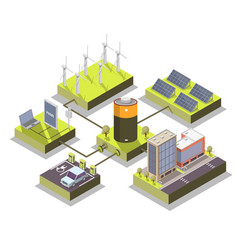 alternative energy isometric vector image