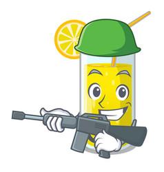 Army lemon juice glass on cartoon shape vector