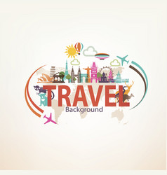 Around the world travel background landmarks and vector