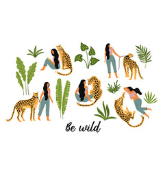 be wild of woman with vector image