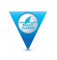 Beach closed sharks symbol map pointer blue vector