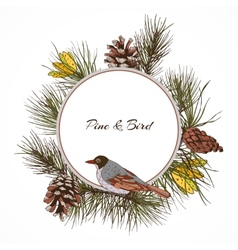Bird pine branch label vector image