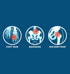 Body pain icons set pain in foot backache and hip vector