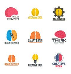 brain innovation logo set flat style vector image
