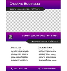 Business multipurpose flyer template - purple vector image