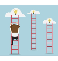 businessman climbing the ladder for idea vector image