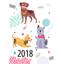 Calendar for 2018 cover with cartoon pedigree dogs vector
