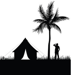 camping in nature man silhouette vector image
