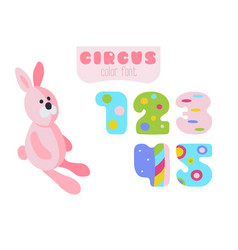 cartoon style numbers 1 2 3 4 5 and pink rabbit vector image