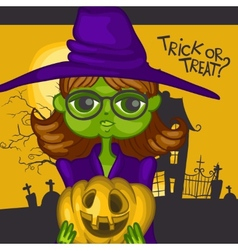 Cartoon Witch Girl With Pumpkins vector