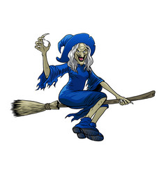 cartoon witch riding flying broom vector image