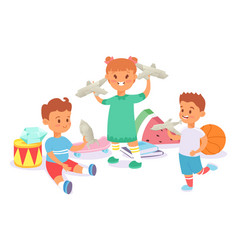 Child character play with paper airplane drum vector