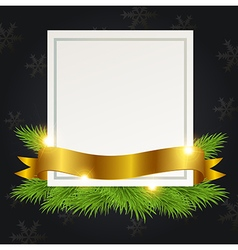 Christmas background with golden ribbon and card vector