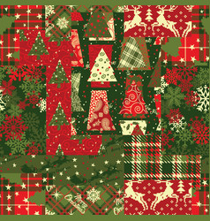 christmas clip art elements patchwork wallpaper vector image