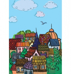 City colorful roofs vector