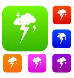 Cloud and lightning set collection vector
