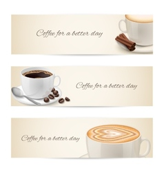 Collection of banners with coffee cups vector image