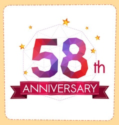 Colorful polygonal anniversary logo 2 058 vector