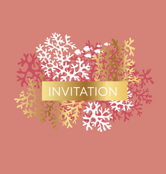 coral color invitation template vector image
