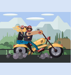 Couple biker in bandanas with skulls leather vector