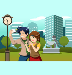 Couple on vacation taking picture themselves vector