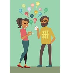 Couple using smartphones vector