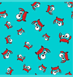 Crab seamless pattern in cartoon style vector