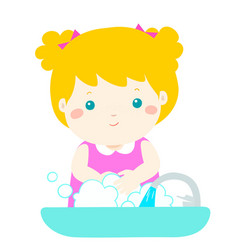 Cute girl washing hands vector