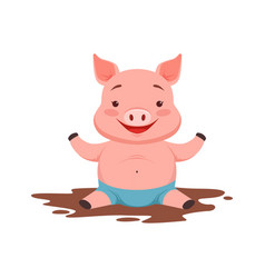 Cute happy pig sitting in a dirty pool funny vector