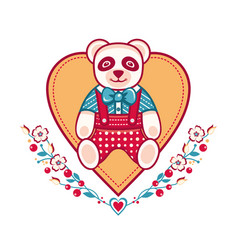 Cute panda greeting card vector