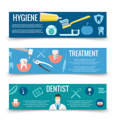 dental service flat banners template - teeth care vector image