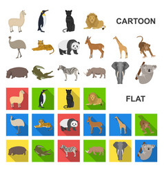 Different animals cartoon icons in set collection vector
