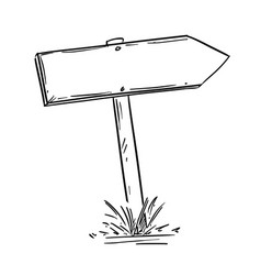 Drawing of empty old wooden road arrow sign vector