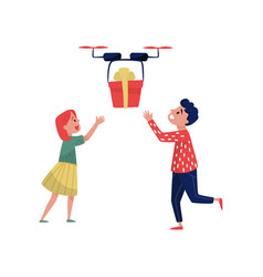 Drone quadrocopter delivering gift box to happy vector