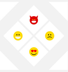 Flat icon gesture set of pouting grin love and vector