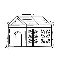 gardening greenhouse icon hand drawn icon set vector image